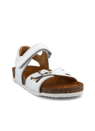 Cicibebe Leopar Kız Çocuk Sandalet Beyaz
